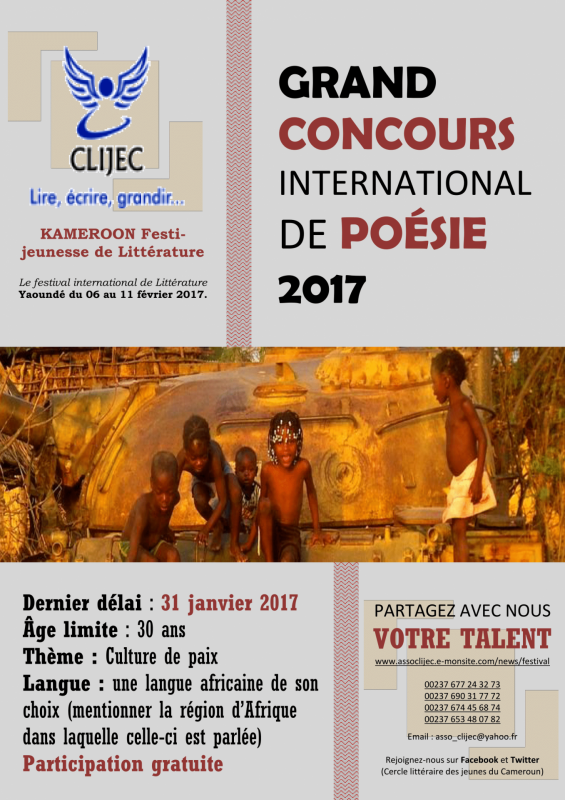 Affiche du concours international de po sie clijec 2017 a coller dans les rues 1