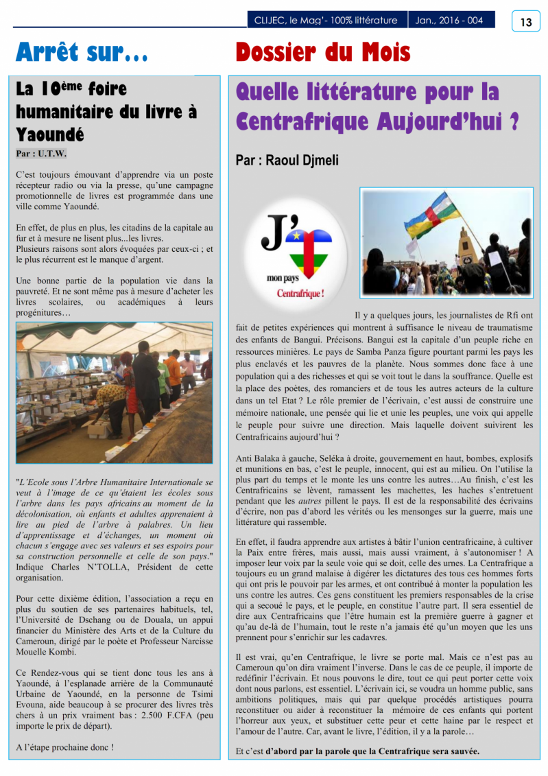 P 13 magazine du clijec janvier