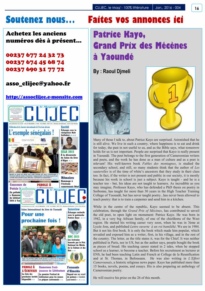 P 16 magazine du clijec janvier